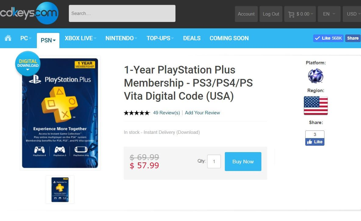 sitio web de compra de ps plus usa 1 año cdkeys