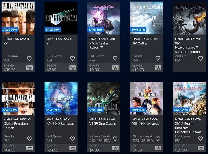 ofertas juegos de final fantasy en psn store