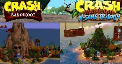 comparación de Crash Bandicoot en PS1 y PS4