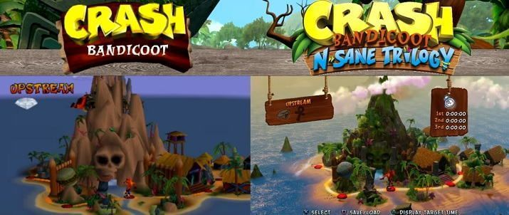 Comparación de Crash Bandicoot en PS1 y PS4