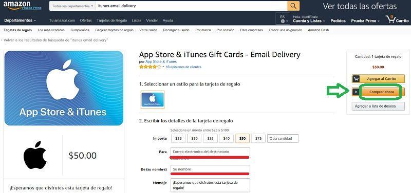 comprar ahora itunes gift card en amazon