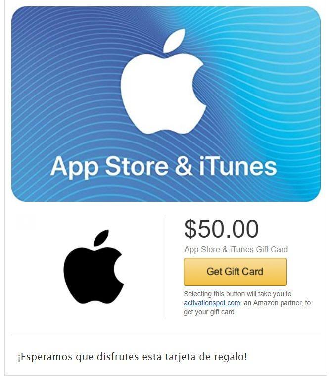 envío por email de itunes gift card