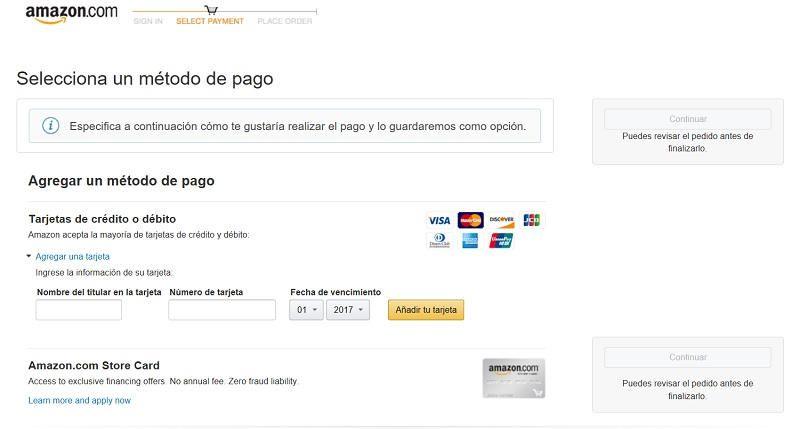 método de pago en amazon con visa mastercard y american express