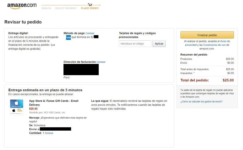 pedido compra itunes gift card en amazon